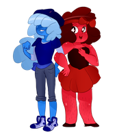 Tomboy!sapphire and girly!ruby by MissPolycysticOvary