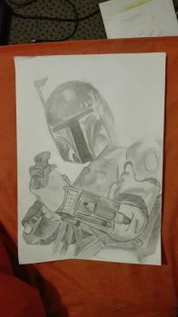 Boba Feet and pencil by malyoke