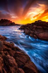Sunset over Canal Rocks, Western Australia by paulmp