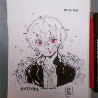#inktober. Day 3. nosebleed by Antama