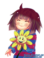 Flowey and Frisk by Valayaa