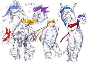 TMNT: Sketches by Yuna63
