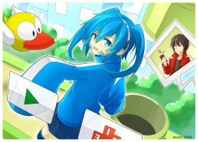 Ene in Flappy bird ~Colored~ by mzrz