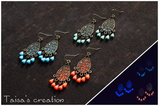 Glow in the Dark Middle East Style Earrings by Taisa-Winged