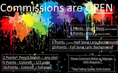 COMMISSIONS ARE OPEN!!!!!!!!! by kellyyllek2