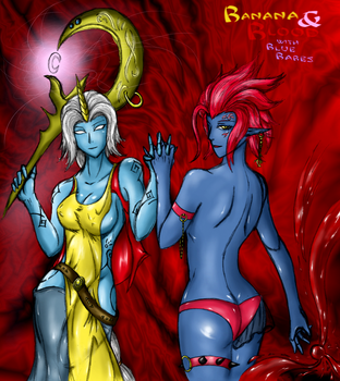 Evelynn and Soraka : Banana and Blood by Lel0uch