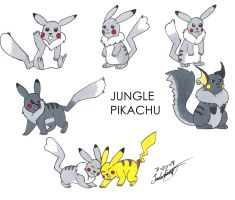 Jungle Pikachu by clinclang