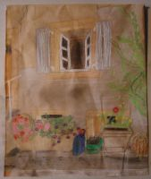 Pastel: window and flowers by mari6s