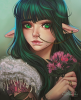 Emeralds and Flowers by AmberHarrisArt