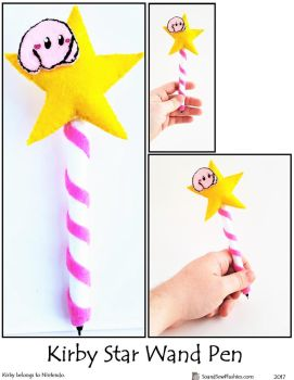 Kirby Star Wand Pen by SoandSewPlushies
