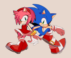 Sonic and Amy by sonamytwist