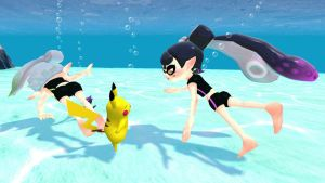 Squid Sisters, Pikachu and Purrloin Underwater