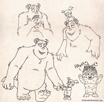 Sully and Boo sketches by Gothicraft