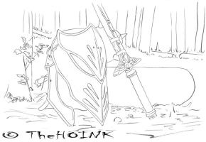 0100 - Helmet and Sword on Earth by TheHOINK
