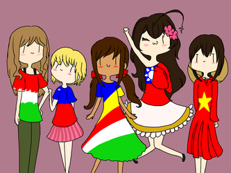 APH GIRLZ!!! second redraw by ChibiMeowz