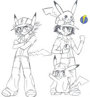 Ashachu, ash and pikachu by voltictail