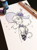 Purple witch, Inktober 2017 by MKmiec