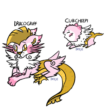 Dracogriff and Cubcheepi (FAKEMON) by Bateye