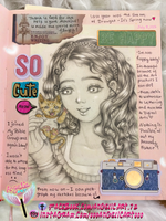 Journal Sketch: Girl and kitten by oooangelicartooo