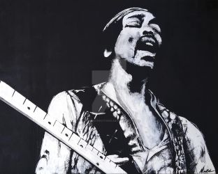 Hendrix in Black and White by NewkirkCreations