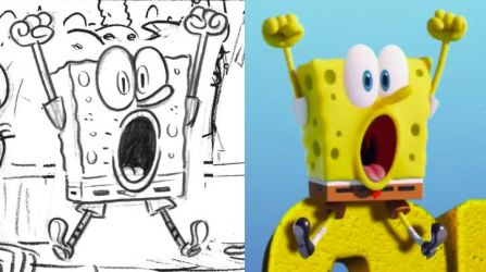 SpongeBob CG vs pencil by shermcohen