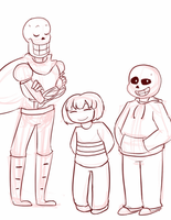 Skellybros and Frisk by Channydraws