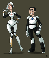 Portal 2: Atlas and P-body by NatashaFenik