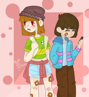 Chara And Frisk going to school Redraw by MissWeirdoArt