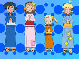 Ash and Kalos Friends: Yukata by PokemonXYLover1998