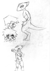 Randomsketches with cool repto-mammal thing by Jalinon