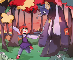 The girl, her friend and the woods by justarandomfruit