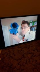 Watching Angry Video Game Nerd on my new TV by Bolttastic