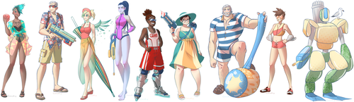 Overwatch Summer Skins by cinnammint