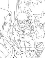 3 sanin and naruto lineart by thisizcool