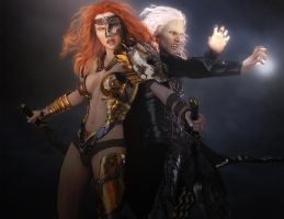 Redhead Warrior Woman and White-haired Mage by shibashake