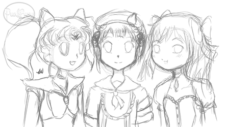 Pink Haired Magical Girls VERY ROUGH SKETCH by PunkBune