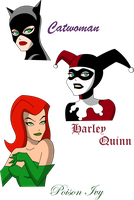 Catwoman Poison Ivy Harley Quinn Close-up by March90