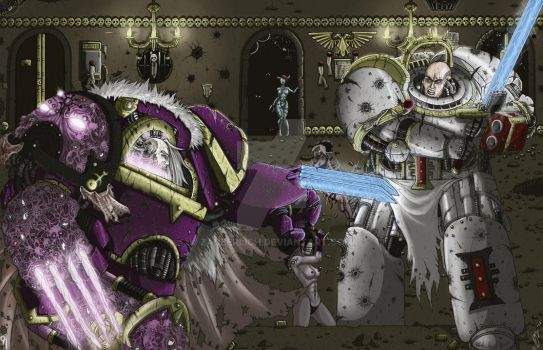 Slaanesh Terminator Lord Vs Grey Knight by Zauberlich