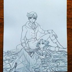 sketch endymion and serenity by zelldinchit