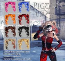 Pigtails hair STOCK by Trisste-stocks
