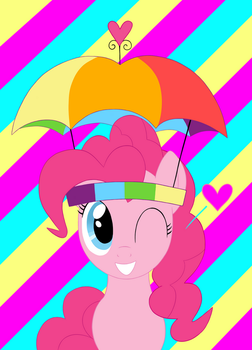 Pinkie Pie and her umbrella hat by antoyuju