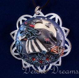 Charmed Life Witch On Broomstick Pendant by DeidreDreams
