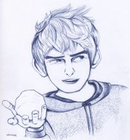 Jack Frost- ball pen drawing by indySkye