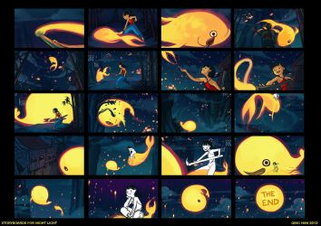 Night Light storyboards by Qinni