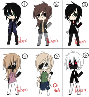 Creepypasta oc Adoptables (CLOSED) by King-of-Creeps