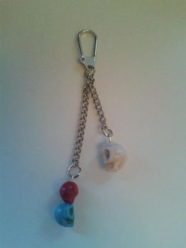 Red and Blue Skull Keychain by Capsha