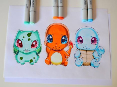 Kawaii Starter Pokemon! by Lighane
