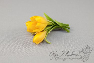 Brooch with yellow crocuses by polyflowers