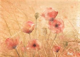 Poppies autumn by petiteartiste666