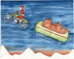 santa and sleigh by inkzoo